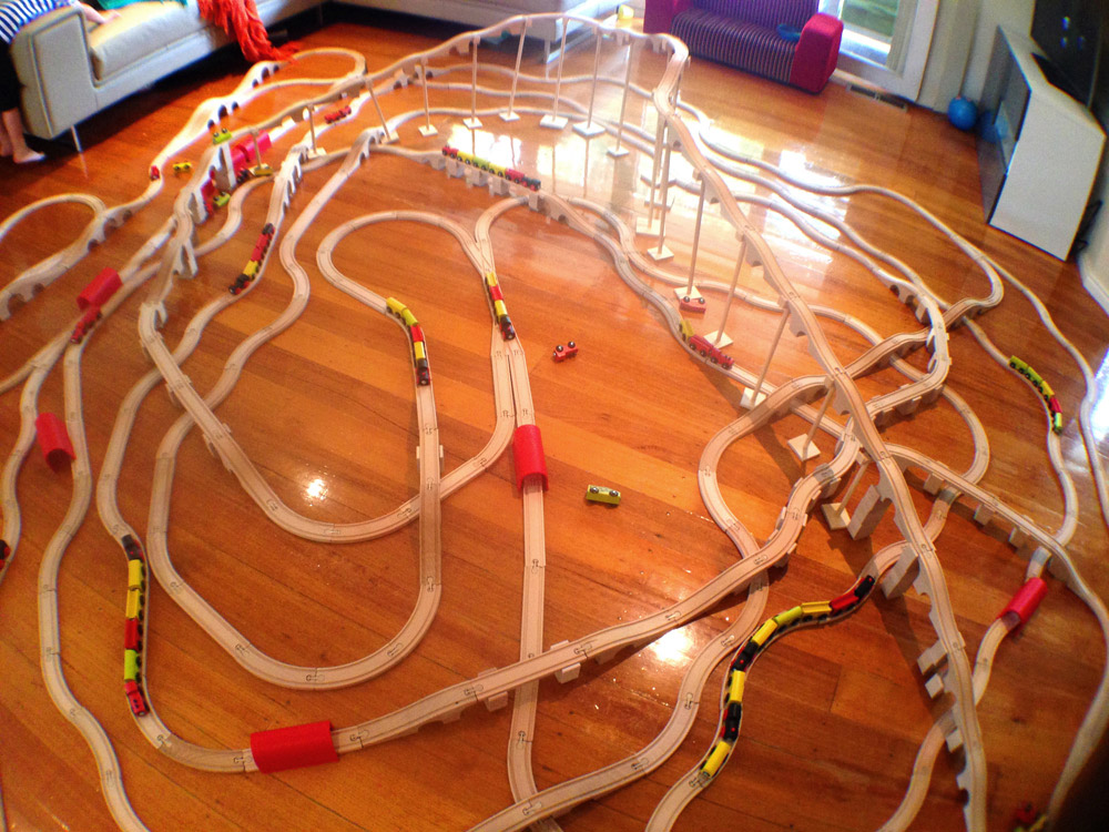 Huge toy train track set