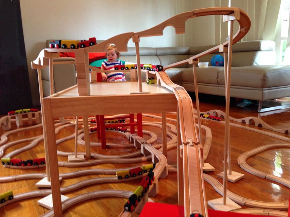 Massive toy train set fun