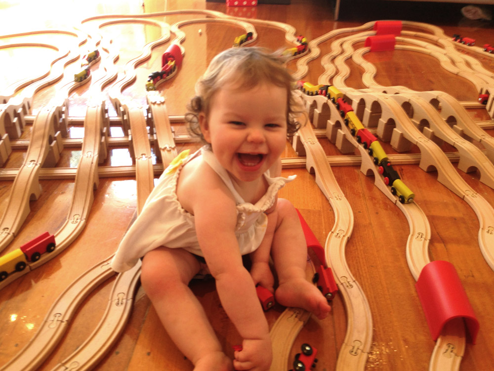 Toddler with trains