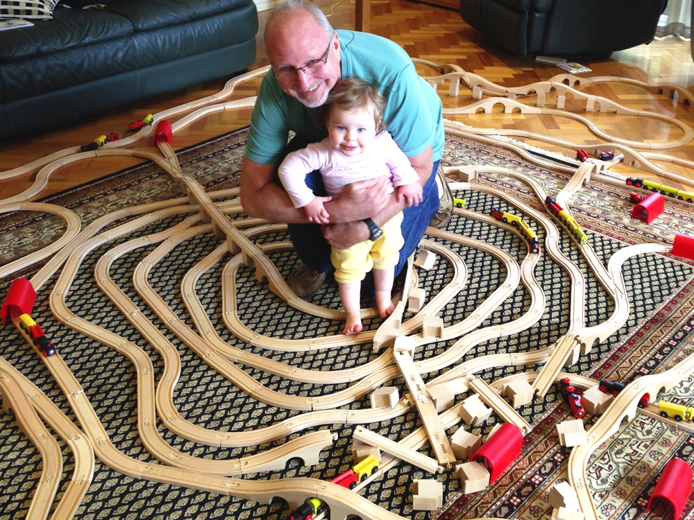 Poppa and Arya with trains