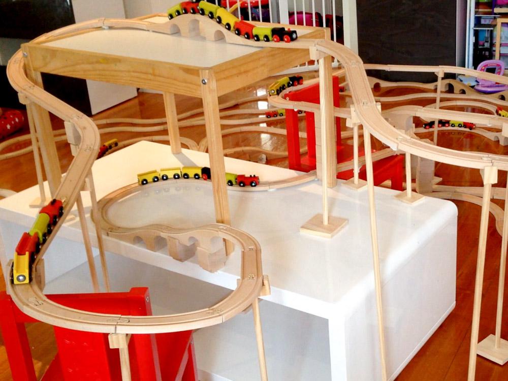 IKEA train tracks winding around the chairs and table & Feel like a run? #26 - Project Train Tracks