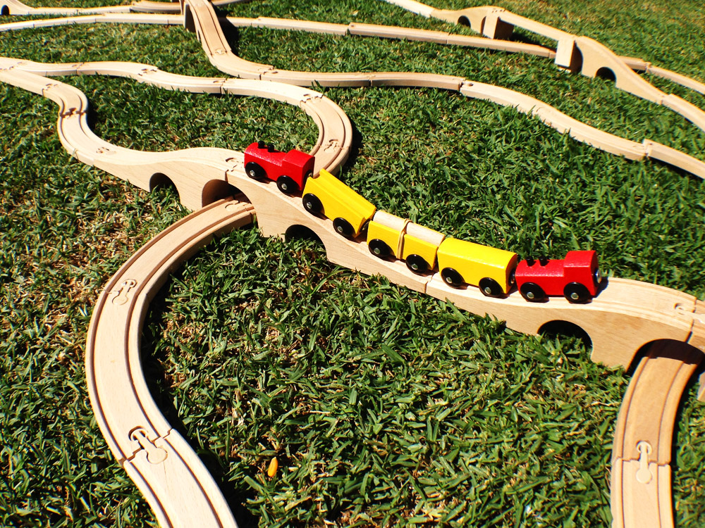 Outdoor train track on the grass