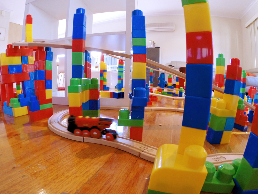 Mega Blok tower train set for kids