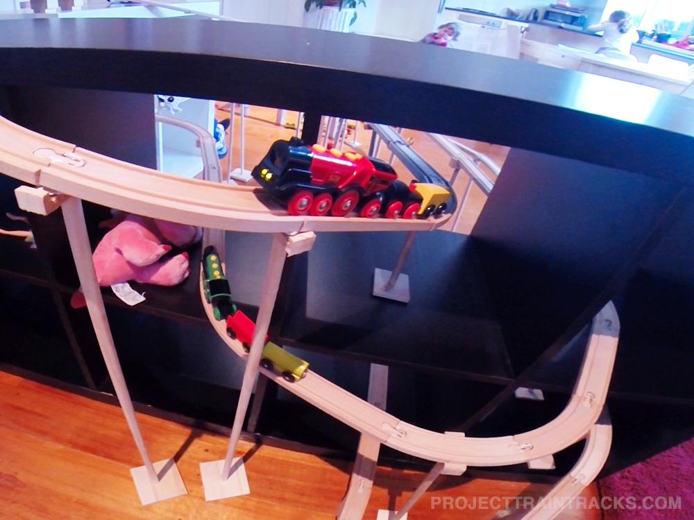 Ikea train set running through ikea shelves!!