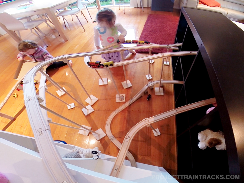 Fun playing with our roller coaster train set