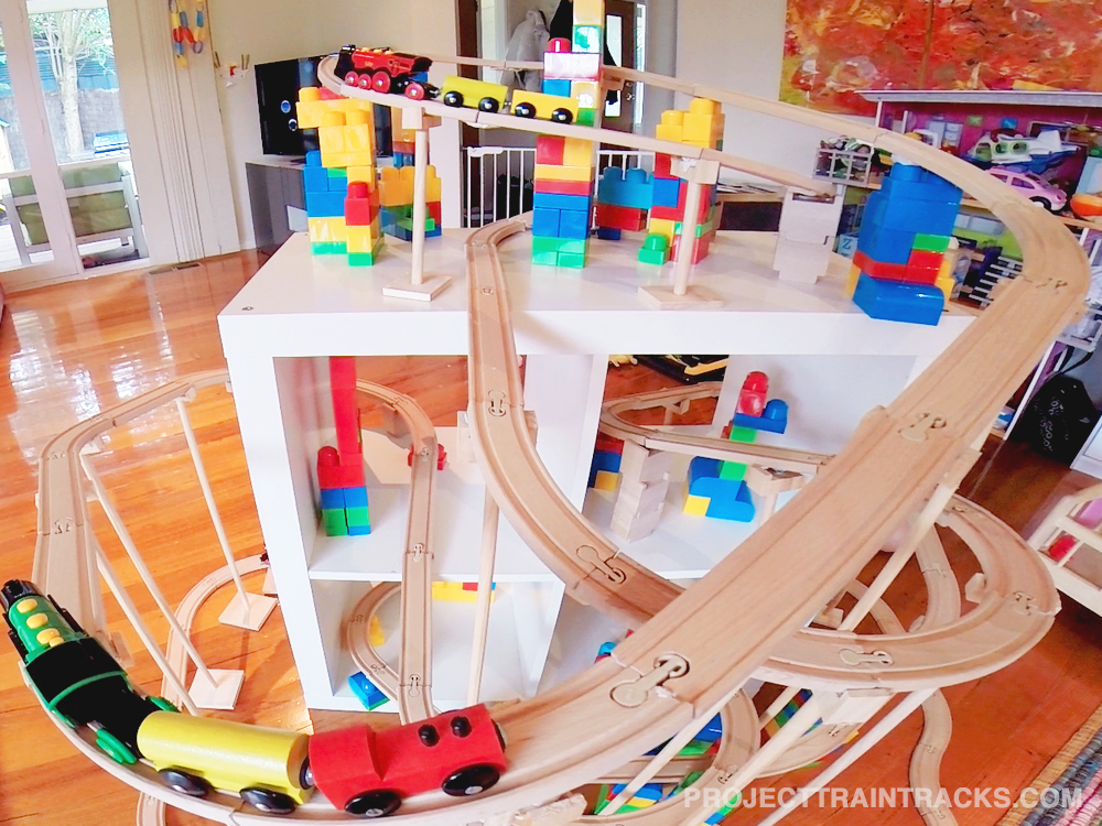 One of our trains sets with Mega Bloks supports