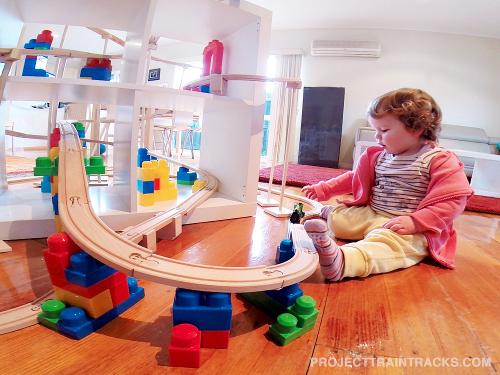 Arya playing with railway trains