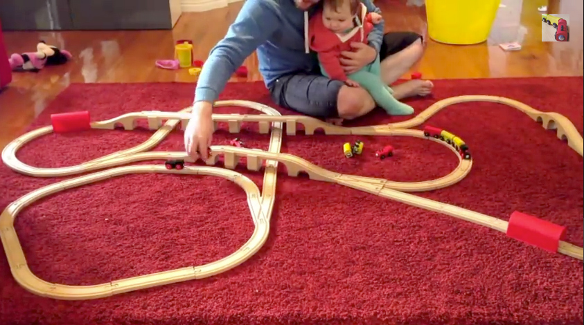 3 ikea train sets all joined up for the trains