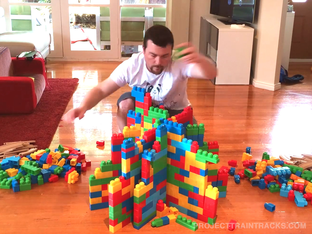 Action shot of train building